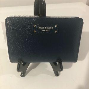 Kate Spade Medium Slim Bifold Wallet Blue NWT